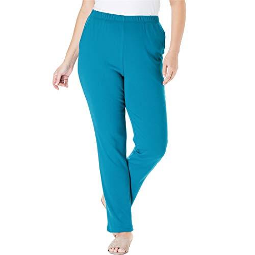 (Woman Within Women's Plus Size 7-Day Knit Straight Leg Pant - Laguna Blue, 3X)