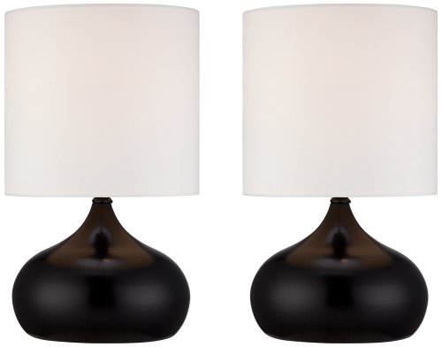 """Set of 2 Steel Droplet 14 3/4""""H Black Small Accent Lamps"""