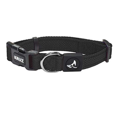KRUZ PET KZA102-01M Breathable Mesh Dog Collar, Soft and Strong, Medium