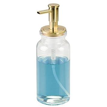 mDesign dosificador de espuma transparente y dorado - Dispensador de gel recargable con capacidad de 443 ml - Dispensador de jabon liquido hecho de cristal: ...