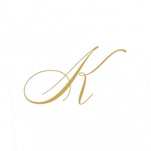 Paper Napkins for Cocktails Monogrammed Personalized with Initial White and Gold K-60 Count Boxed by Caspari