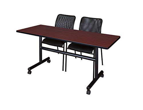 (Regency MKFT6030MH75BK Flip Top Mobile Training Table and Mario Chair Set 60 Mahogany/Black)