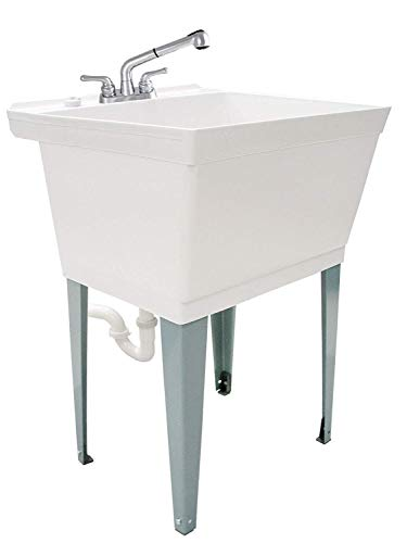 (White Utility Sink Laundry Tub With Pull Out Chrome Faucet, Sprayer Spout, Heavy Duty Slop Sinks For Washing Room, Basement, Garage or Shop, Large Free Standing Wash Station Tubs and Drainage (White))