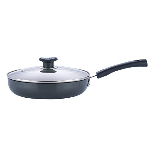 Vinod Hard Anodized Deep Fry Pan with Glass Lid   22 cm