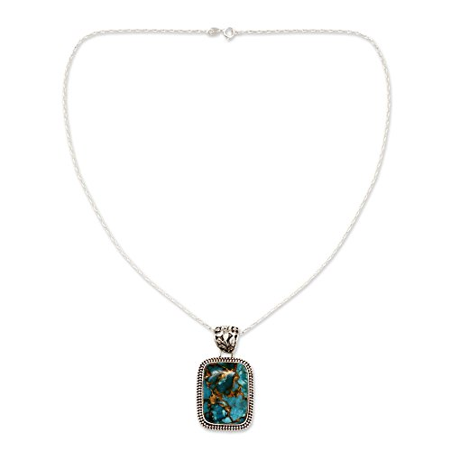 (NOVICA Reconstituted Turquoise .925 Sterling Silver Pendant Necklace,17.75
