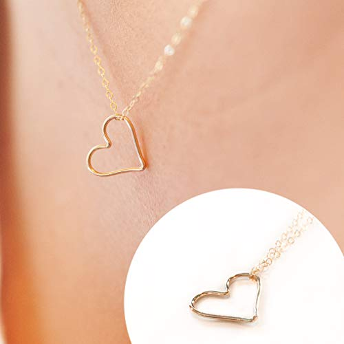 Open Heart Necklaces for Women, 18
