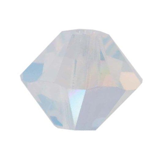 Swarovski Crystal, 5328 Bicone Beads 3mm, 25 Pieces, White Opal AB - Opal Ab Bicone Crystal Beads