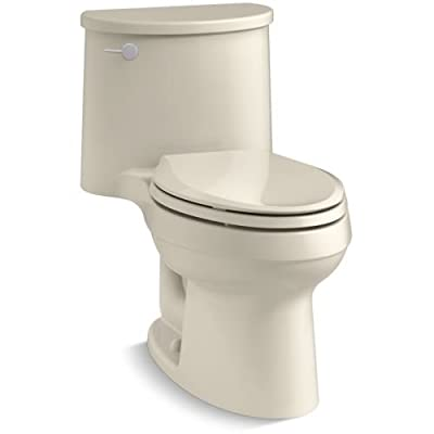 KOHLER K-6925-58 Adair One-Piece Elongated 1.28 GPF Toilet with Aqua Piston Flush Technology and Left-Hand Trip Lever, Thunder Grey