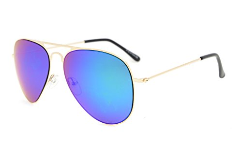 Price comparison product image Eyekepper Kids Teen Age 8-16 Sunglasses Boys Girls Gold Frame Green Mirror