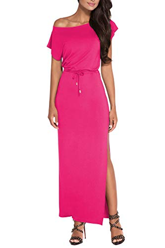 Meenew Women's Tie Waist Fitted High Split Party Cotton Long Dress Rose Red M
