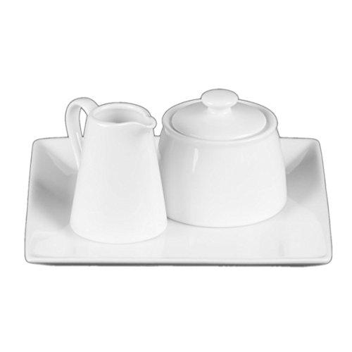Holst Porzellan AT 020 FA1 Milch und Zucker Menage Set 3-teilig quaderteller, weiß, 19.3 x 19.1 x 9 cm