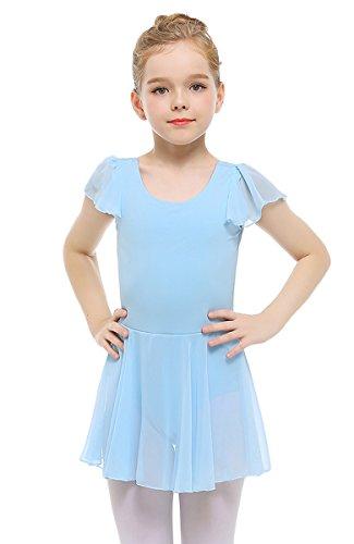 STELLE Girls' Ruffle Short Sleeve Tutu Skirted Ballet Leotard for Dance, Ballet(85cm, Blue)