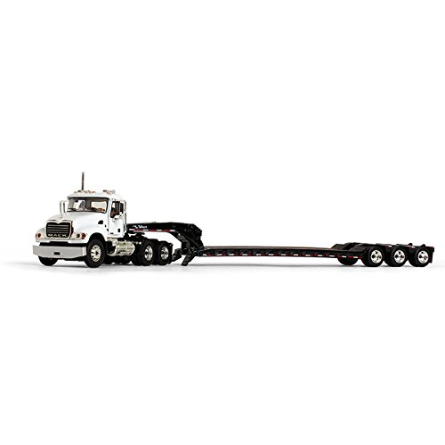 Lowboy Trailer - First Gear 1/64 scale Diecast Collectible White/Black Mack Granite with Tri-Axle Lowboy Trailer (60-0166)
