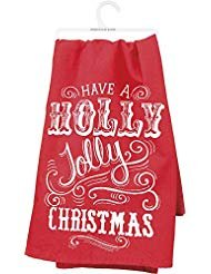 - Primitives by Kathy Holly Jolly Dish Towel, Red/White, 28