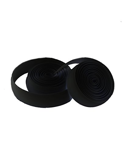Silicone Bike Handlebar Tape with Bar Plugs and Finishing Tape (Black) - Road and mountain bicycle bar wrapping for grip and comfort - Easy to wrap adhesive free (Tires Bike Felt)