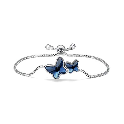 T400 925 Sterling Silver Blue Butterfly Bangle Bracelet Made with Crystal♥ Birthday Gift for Women Girls