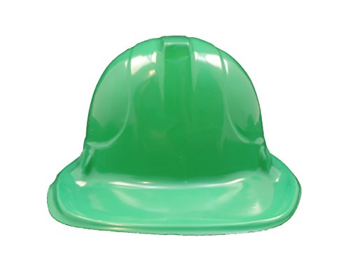 GREEN Kid's Plastic Miner Construction Hard Hats Set