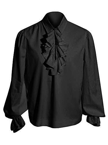 Pxmoda Men's Halloween Costumes Ruffled Gothic Steampunk Victorian Pirate Cosplay Shirts (2XL, Black) -