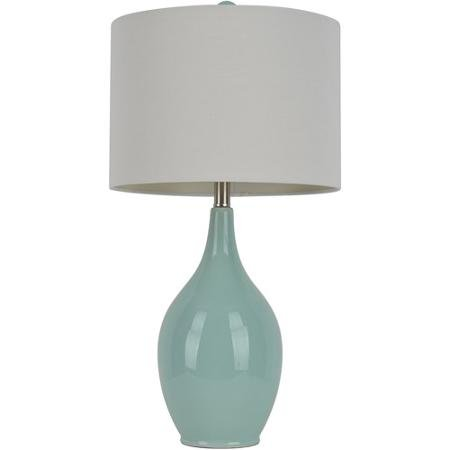 Table Lamp Set | Spa Blue Ceramic Table Lamp with White Linen ()