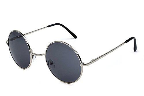 Caixia Women's SJT-TZ Colored Tinted Lens Retro Metal Round Sunglasses (grey, - Wire Sunglasses