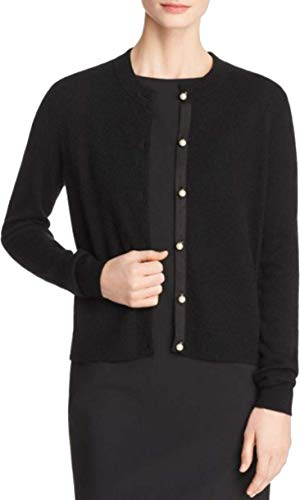 - C By Bloomingdale's Faux-Pearl Button Cashmere Sweater, Black S