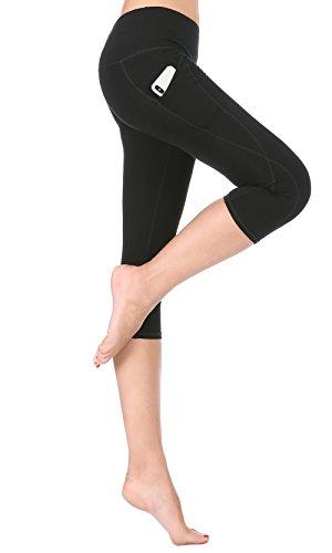 ABUSA Womens High Waist Yoga Capri Leggings Tummy Control Workout Pants with Out Pocket