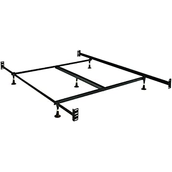 Coaster Home Furnishings  6 Leg Steel Bed Frame with Center Support and Adjustable Glides - Queen / Eastern King - Black