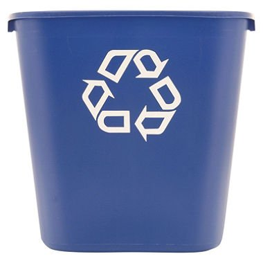 Rubbermaid® Commercial - Medium Deskside Recycling Container, Rectangular, Plastic, 28 1/8 qt, Blue - Sold As 1 Each - Use beside wastebasket.