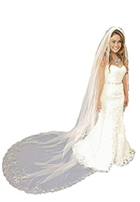 Passat Wedding Veils with Heavily Beaded Embroidery Pearls Sequins Rhinestones veil for brides VL-1029
