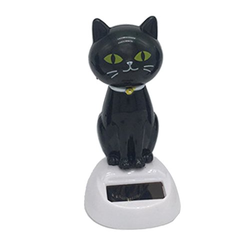 Lovely Auto Car Ornament Solar Powered Shaking Head & Tail Black Cat Doll Bobblehead Toy Home Table Decor Educational