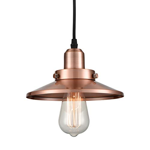 Wildsoul 20011-AC 1 Light Mini Pendant, Vintage Metal Pendant Light, Antique Copper Finish