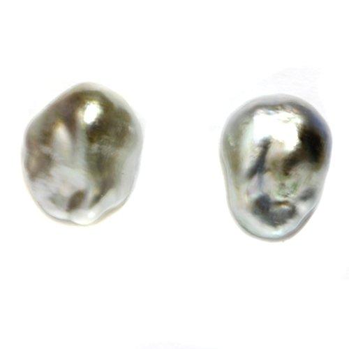 14k Gold - Tahitian south sea Keshi Pearl Stud Earrings 13 MM Silver Beige AAA Flawless Gold Keshi Pearls