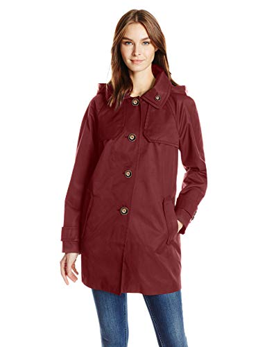 - London Fog Women's Button Front Topper, Burgundy, M