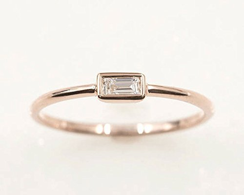 Platinum Ring Fine (Dainty Diamond Ring/0.10 Ct. Baguette Diamond Ring/Baguette Solitaire Ring/14k Rose Gold Wedding Ring/100% Natural Diamond Band/Wedding Band)