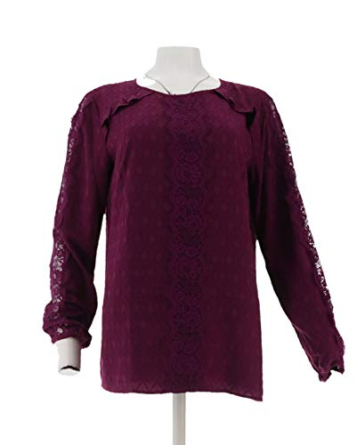 Isaac Mizrahi Scoop- Neck Coupe Blouse Lace Vivid Plum 8 New A343210