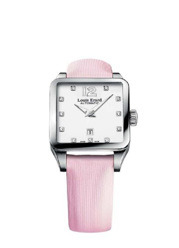 Louis Erard Women's 20700AA11.BDS60 Emotion Diamond-Accented Stainless Steel Automatic Watch with Pink Satin Band