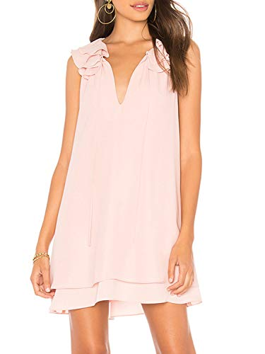 Glamaker Women's Summer Strap V Neck Chiffon Sleeveless Ruffle Loose Shirt Dress Tunic Tank Top Pink
