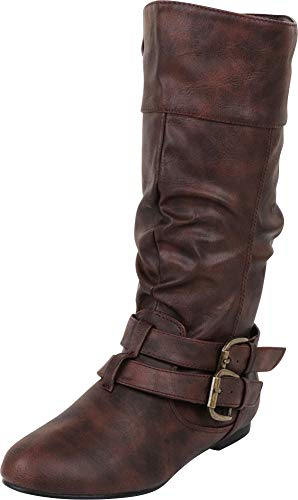 Cambridge Select Women's Wraparound Strappy Buckle Slouch Flat Mid-Calf Boot,10 M US,Brown Pu -