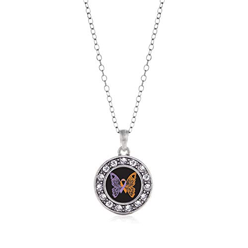 Inspired Silver - Psoriasis Awareness Butterfly Charm Necklace for Women - Silver Circle Charm 18 Inch Necklace with Cubic Zirconia Jewelry