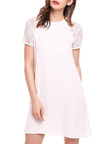 (Meaneor Women's Short Sleeve Keyhole Back Lace Shift Dress White XXL)