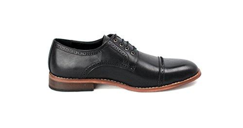Hombre Casual Elegante Zapatos Oxford Moda Estilo Formal Con Cordones Oficina Trabajo Talla 6-11 NUEVO Negro