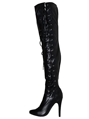 Black Matte Lacing Side Boots Honour with Black Thigh 0dnFUq