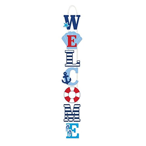 Nautical Sign Welcome (Summer Nautical Welcome Deluxe Hanging Sign)