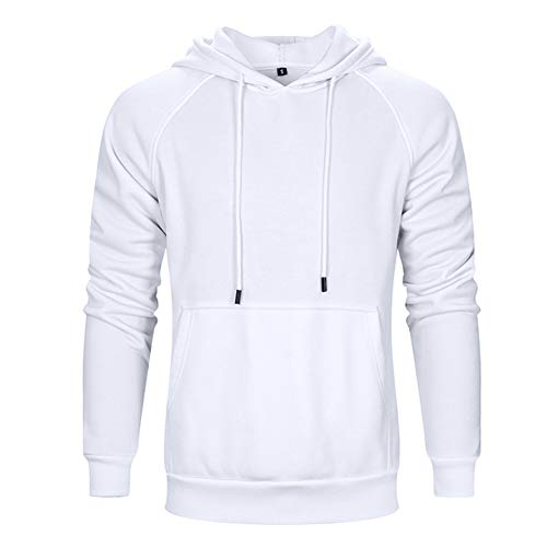 LBL Men's Solid Casual Hoodie Sweatshirts Sports Pullover Soft Hooded White 2XL