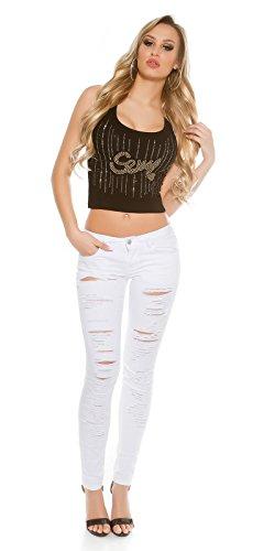 Skinny Jeans destroyed look, weiß