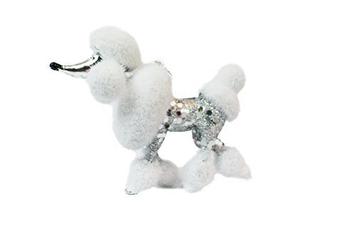 Holiday Time Silver/White and Sequin Poodle Christmas Ornament