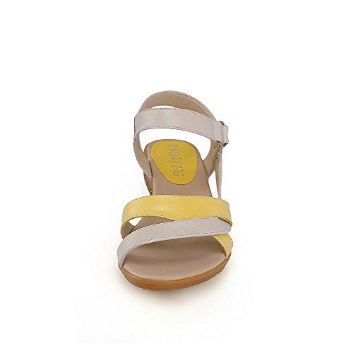 AgooLar Mujeres Colores Surtidos Velcro Puntera Abierta Mini Tacón Sandalia Amarillo