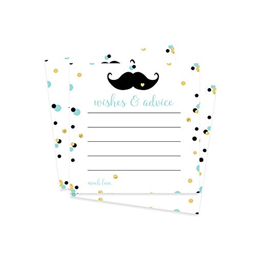Mustache Advice and Wishes  Baby Shower or Party  25 Pack