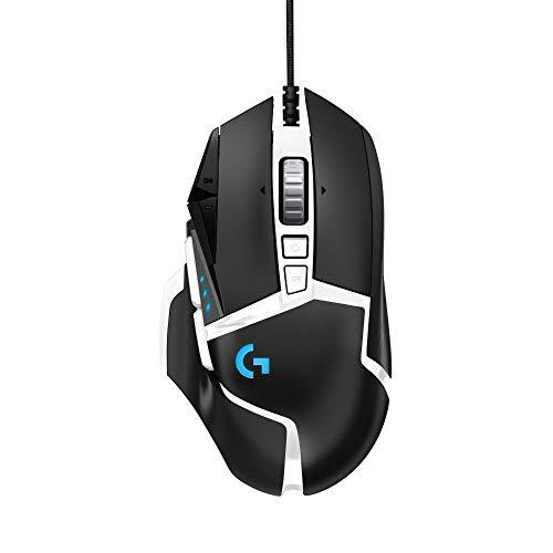 Logitech G502 HERO Gaming-Maus Special Edition, Hero 16000 DPI Sensor, RGB-Beleuchtung, Gewichtstuning, 11 Programmierbare Tasten, Anpassbare Spielprofile, PC/Mac, Schwarz/Weiß - Deutsche Verpackung