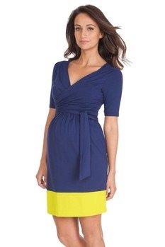 33ecf3b6a3 Seraphine Enja Wrap Maternity Dress Ink Neon 8 RRP £55 (8)  Amazon.co.uk   Clothing